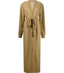 oséree long-sleeve belted knit coat - gold
