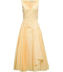 alexander mcqueen yellow cotton poplin midi dress