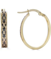 diamond cut satin hoop earrings in 14k gold and black ruthenium