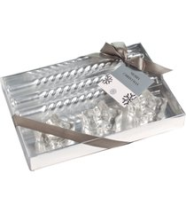kit velas natal prata 20cm e porta velas kit com 6 unidades