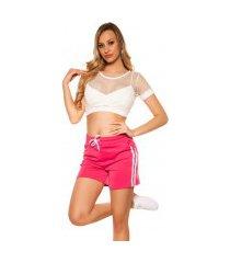 trendy shorts met strepen jaren 90 retro look fuchsiaroze