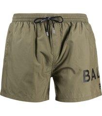 balmain logo print swim shorts - green