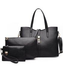 bolso negro de la madre de 3pcs new fashion portable diagonal