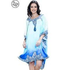 vestido 101 resort wear kaftan decote bordado plus size jóia azul