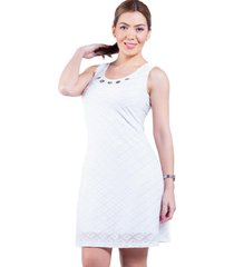 vestido malla blanco con ojetillos bellisima