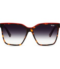 quay australia level up 55mm square sunglasses in tort red /black fade lens at nordstrom