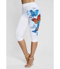 flower butterfly print capri leggings