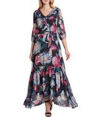 tahari asl ruffled floral-print gown