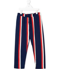 mini rodini striped drawstring track pants - blue