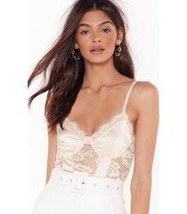 womens v-neckline lace bodysuit - nude