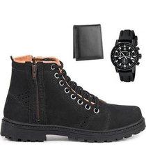 coturno masculino couro macio + carteira leve + relógio - masculino