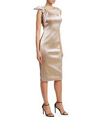 shoulder bow metallic cocktail dress