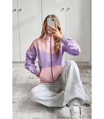 colour block twill jacket, lilac