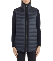 women's moncler quilted down & wool long cardigan, size small - blue