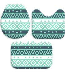 kit 3 tapetes decorativos para banheiro wevans abstrato turquesa - verde - dafiti