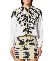 hudson women's tie-dye cotton sweatshirt - electric citron - size l
