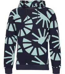 jacquard suns sweat with hood hoodie trui blauw scotch & soda