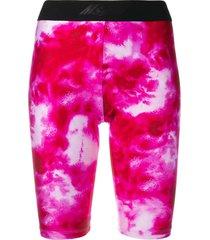 msgm tie-dye print cycling shorts - pink