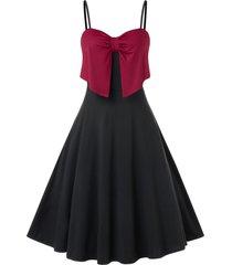 plus size two tone bowknot cami party dress