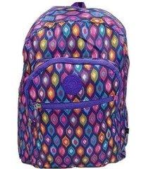 mochila feminina estudante trabalho escolar adulto juvenil violeta escuro
