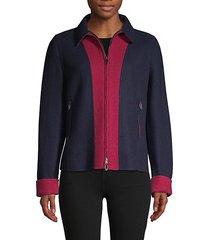 colorblock cashmere-rich jacket
