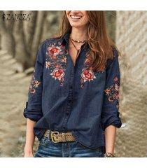 zanzea mujeres denim blue casual flor de ganchillo tapas de la camisa floja gira el collar abajo de la blusa -azul oscuro