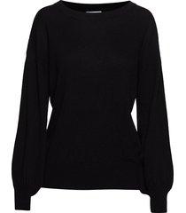 balloon sleeve sweater stickad tröja svart davida cashmere