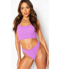 longline crinkle crop bikini, purple