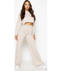 oversized baggy crop top en wide leg broek set, beige