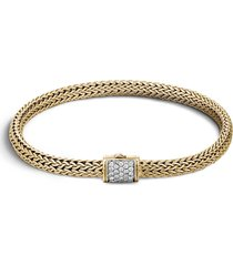 classic chain' diamond 18k yellow gold woven bracelet