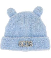 gcds woman light blue teddy beanie with ears
