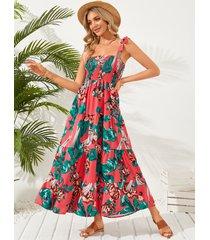 maxi sin mangas con tirantes fruncidos con estampado floral vestido
