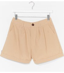 womens linen in to temptation high-waisted shorts - stone