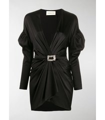 alexandre vauthier puffed shoulder plunge mini-dress