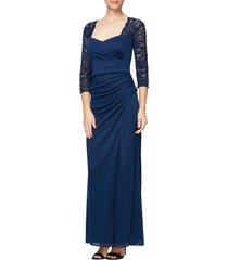 women's alex evenings lace yoke & sleeves ruched gown
