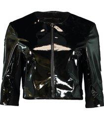 patent leather cardigan
