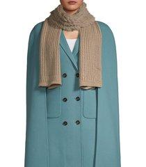 la fiorentina women's dyed rabbit fur-accent knit scarf - camel