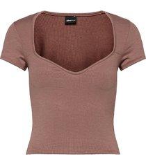 margot bustier top t-shirts & tops short-sleeved brun gina tricot