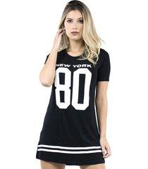 vestido camisão bravaa modas longline 099 preto