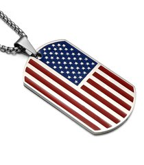 collana classica americana in acciaio inox con pendente da uomo, collana americana, patriota con catena, collana