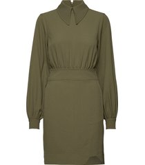 heavy crepe mini dress korte jurk groen ganni