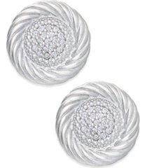 diamond button swirl earrings (1/5 ct. t.w.) in sterling silver