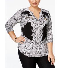 i.n.c. plus size printed zip-pocket shirt, created for macy's