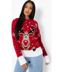 tall rendier kerst trui, red