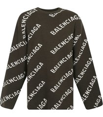 balenciaga all-over logo oversized sweater