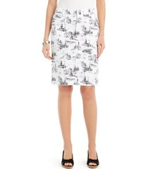 charter club petite printed denim tummy-control skirt, created for macy's