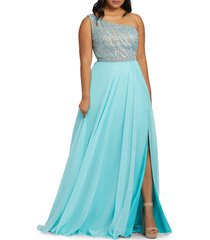mac duggal women's plus beaded chifon flare gown - aquamarine - size 22w