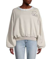 free people women's feel the love graphic pullover - heather grey - size xs