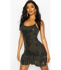 drop hem all over sequin mini dress, gold