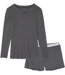 pigiama estivo a costine con maglia a maniche lunghe (grigio) - bpc bonprix collection